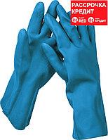 STAYER M, хозяйственно-бытовые, с х/б напылением, рифлёные, перчатки латексные с неопреновым покрытием DUAL