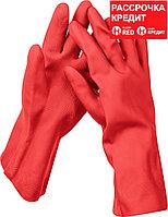 ЗУБР L, перчатки латексные хозяйственно-бытовые, повышенной прочности с х/б напылением, рифлёные ЛАТЕКС+