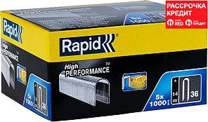 RAPID 5000 шт., 14 мм, тип 36, супертвердые, профессиональные, плоские скобы 11886910
