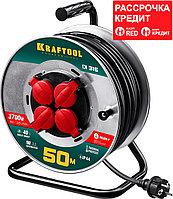 KRAFTOOL 50 м, 3700 Вт, 4 гнезда, IP44, КГ 3x1,5 кв мм, удлинитель на катушке 55085-50_z01