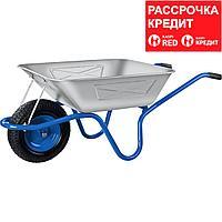 ЗУБР 130 л, 250 кг, одноколесная, с широким пневматическим колесом, тачка строительная ПТ-250 39907