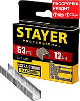 STAYER скобы тип 53 (A / 10 / JT21), 12  мм, 1000 шт., закаленные, особотвердые, скобы для степлера тонкие