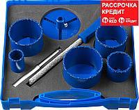 ЗУБР 8 шт.: d 33, 53, 67, 73, 83 мм, карбид-вольфрамовое нанесение, набор кольцевых коронок 33350-H8