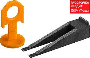 ЗУБР 50+50 шт, система выранивания плитки (клин+зажим) 3384-H50
