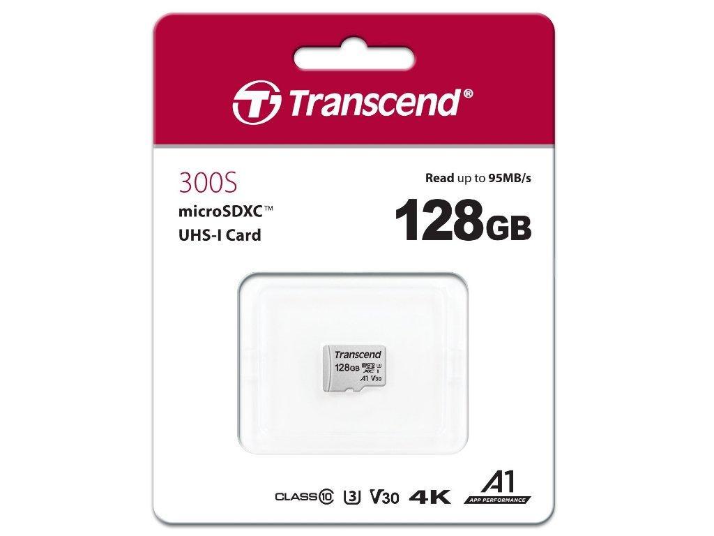 Transcend TS128GUSD300S Карта памяти MicroSD 128GB Class 10 U3 microSDXC/SDHC 300S