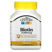 БАД 21st Century Биотин, 10000 мкг (120 таблеток)