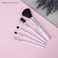 Набор кистей для макияжа «Мрамор», 5 предметов, цвет белый/чёрный