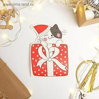 Открытка конверт формовая «Новогодний котик», 13,2 х 23,9 см