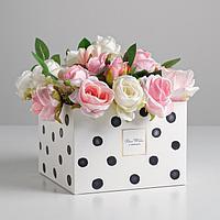 Коробка для цветов с PVC-крышкой «Для тебя с любовью», 17 × 12 × 17 см