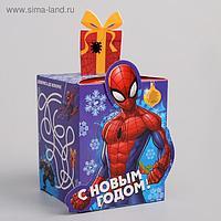 """Коробка складная """"С Новым годом"""", Человек-паук, 8 х 10 х 8 см"""