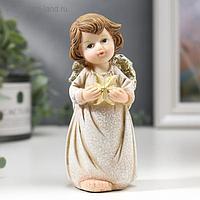 """Сувенир полистоун """"Ангел в бежевом платье с золотой звездой"""" 13х6,2х6 см"""