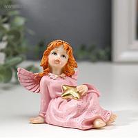 """Сувенир полистоун """"Девочка-ангел в розовом платье со звездой"""" 6,7х7,8х5,5 см"""
