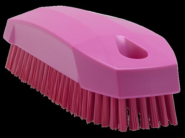 Щетка S для рук / для ногтей, 130 мм, Жесткий ворс, розовый цвет