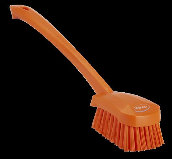 Щетка для мытья с длинной ручкой, 415 мм, Жесткий ворс, оранжевый цвет