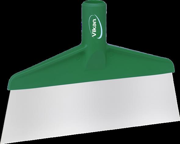 Скребок с рабочей пластиной из нержавейки для столов и полов, 260 мм, зеленый цвет