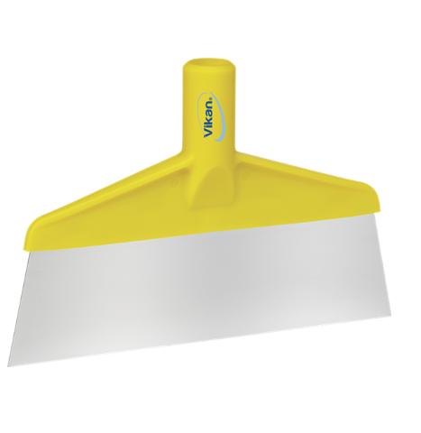 Скребок с рабочей пластиной из нержавейки для столов и полов, 260 мм, желтый цвет