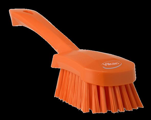 Щетка для мытья с короткой ручкой, 270 мм, Жесткий ворс, оранжевый цвет
