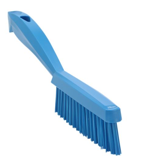 Щетка ручная узкая с короткой ручкой, 300 мм, Очень жесткий ворс, синий цвет