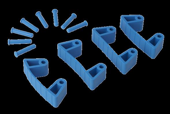 Резиновый зажим 4 шт. к настенным креплениям арт. 1017 и 1018, 120 мм, синий цвет