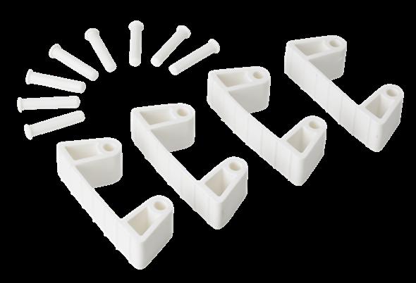 Резиновый зажим 4 шт. к настенным креплениям арт. 1017 и 1018, 120 мм, белый цвет