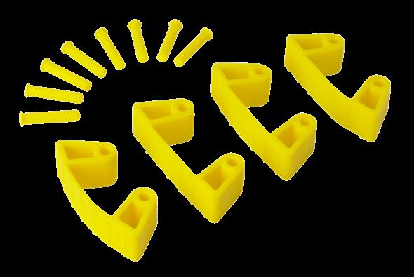 Резиновый зажим 4 шт. к настенным креплениям арт. 1017 и 1018, 120 мм, желтый цвет