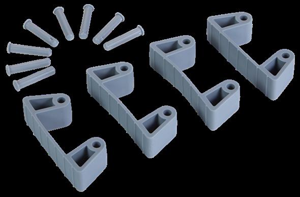 Резиновый зажим 4 шт. к настенным креплениям арт. 1017 и 1018, 120 мм, серый цвет