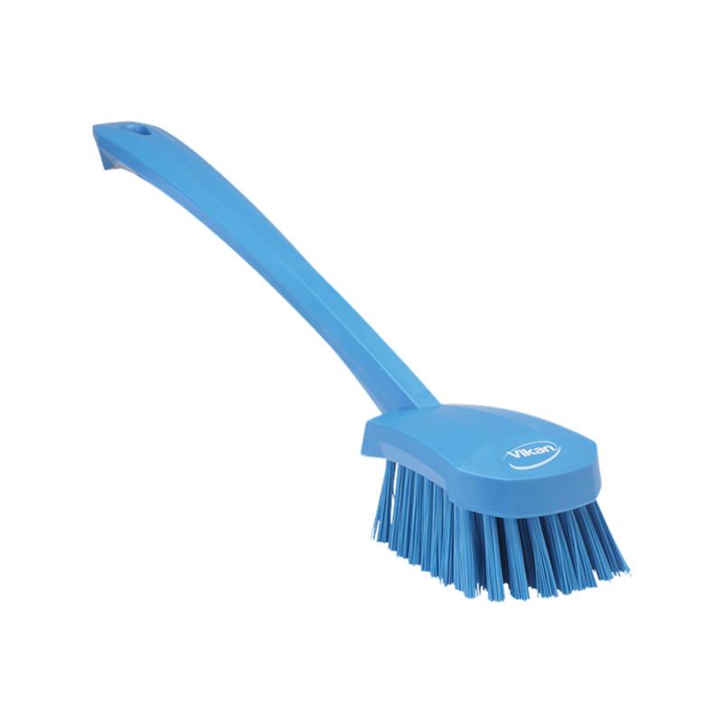 Щетка для мытья с длинной ручкой, 415 мм, жёсткий ворс, синий цвет