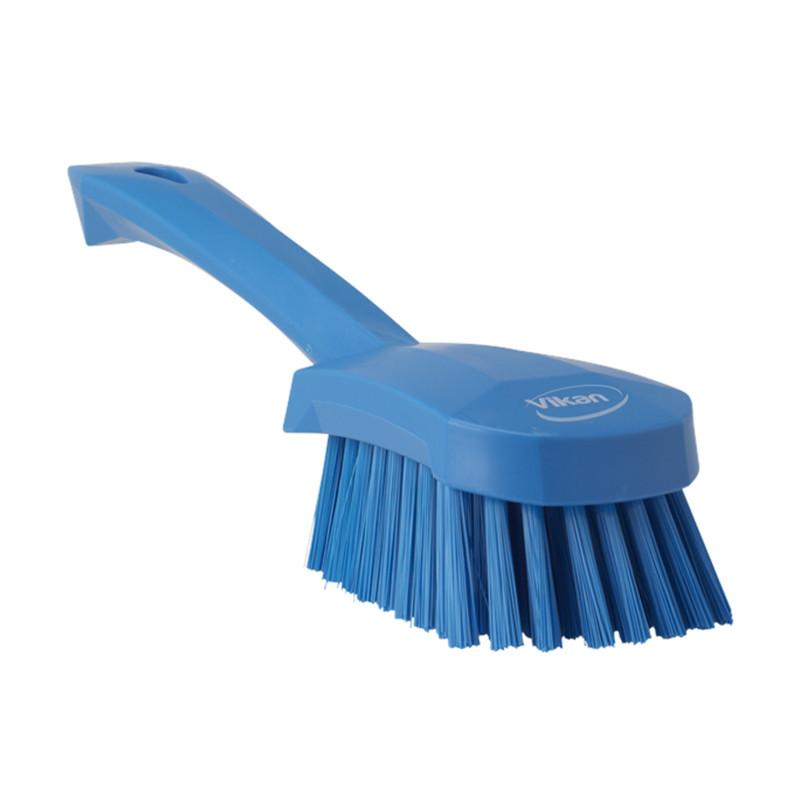Щетка для мытья с короткой ручкой, 270 мм, жесткий ворс, синий цвет