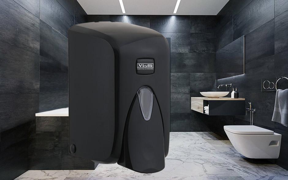 Диспенсер (дозатор) для жидкого мыла Vialli S5В (чёрного цвета) 500мл.