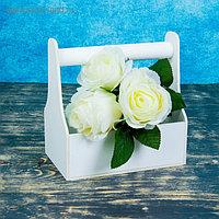Кашпо деревянное 20×12.5×20 см Стелла Моно, с ручкой, белый Дарим Красиво