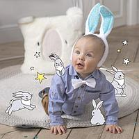 Карнавальный костюм «Зайка», ободок - ушки, хвостик, термонаклейка, бабочка