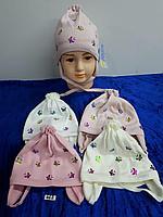 Шапка весна-осень с завязками для девочки. Фирма Grans