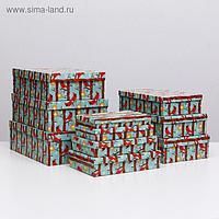"""Набор коробок 10 в 1 """"Птицы НГ"""", 36,5 х 26,5 х 12 - 23 х 13 х 3 см"""