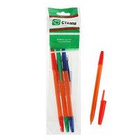Набор ручек шариковых микс 3 цвета 'Стамм', 'Оптима' ORANGE, узел 1.0 мм, чернила синие, красные, зелёные,