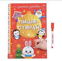 Многоразовая книжка с маркером «Пиши-стирай. Зимние забавы», 12 стр.