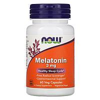 Now Foods, мелатонин, 3 мг, 60 растительных капсул