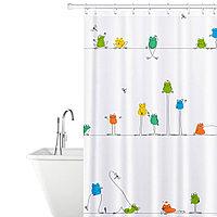 Tatkraft FUNNY FROGS Тканевая штора для ванной комнаты с кольцами, 180 х 180 см 18099
