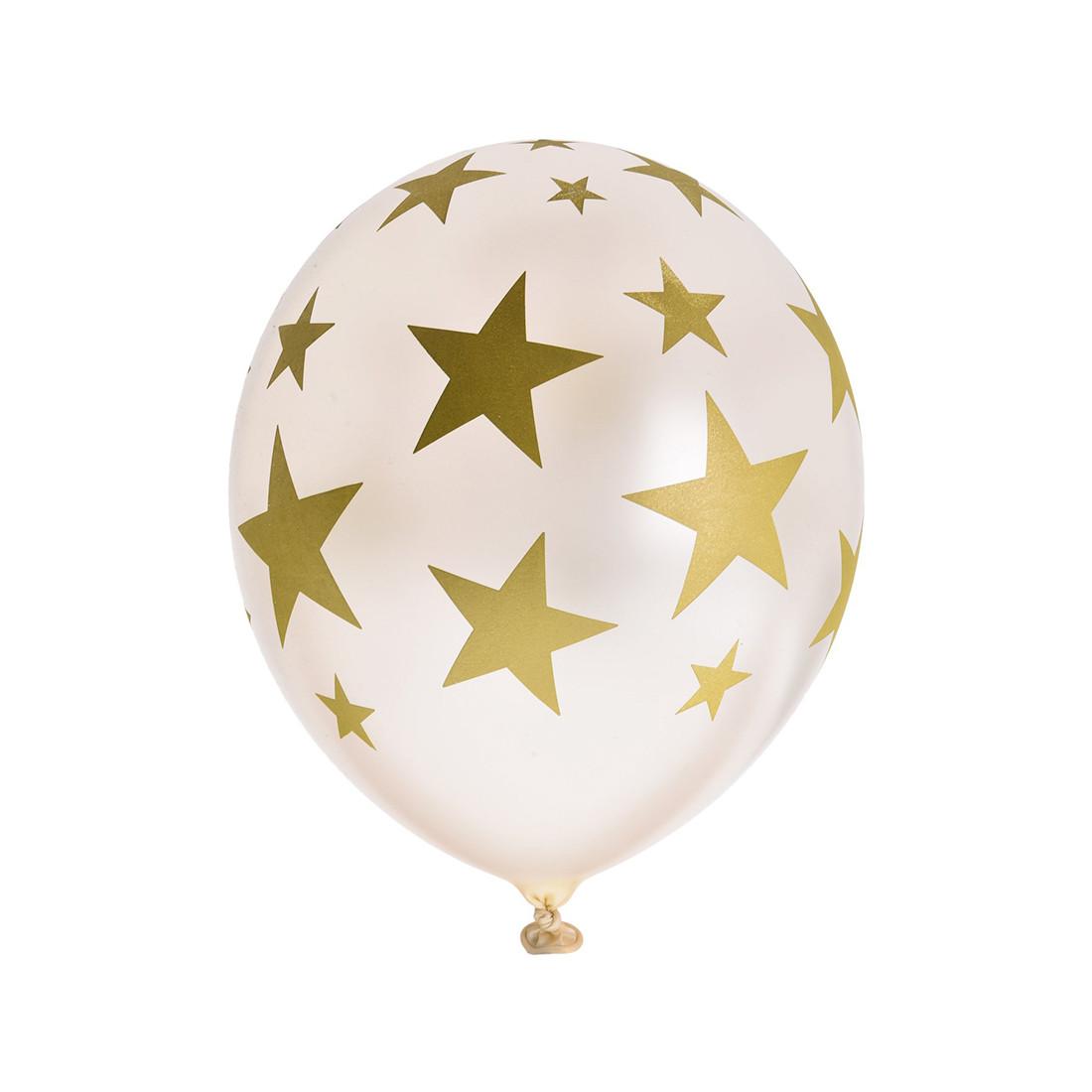 Воздушные шарики  ВЕСЁЛАЯ ЗАТЕЯ  1111-0947  Звезды  (5 шт. в пакете)  Шелкография  Размер 36 см  Латекс
