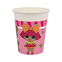 Стакан праздничный  ВЕСЁЛАЯ ЗАТЕЯ  1502-4188  Куклы LOL  Объем 200 мл.  (8 шт. в пакете)  Бумажный  Розовый