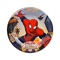 Тарелка праздничная  ВЕСЁЛАЯ ЗАТЕЯ  1502-4681  Spider-Man  Диаметр 20 см.  (8 шт. в пакете)  Бумажная
