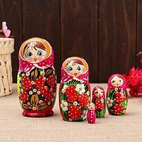 """Матрёшка 5-ти кукольная """"Катя"""" ягоды , 13см, ручная роспись."""