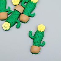 """Декор для творчества пластик """"Кактус цветущий в горшочке"""" набор 10 шт 2,8х1,7 см"""