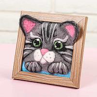 Картина из шерсти объёмная «Котёнок, 10 х 10 см