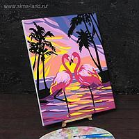 Картина по номерам на холсте с подрамником «Фламинго на закате» 40х50 см