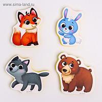 Макси - пазлы для ванны (головоломка), «Лесные зверята», 4 пазла, 8 деталей