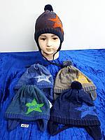 Шапка весна-осень с завязками для мальчика. Фирма Grans