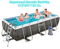 Каркасный бассейн Bestway Power Steel Rectangular 412 см 201 см 122 см