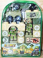 215-22 Конструктор военный в рюкзаке Arm super (цифры,паровоз,2 солдата) 46дет, 27*13см, фото 1