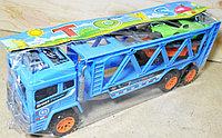 Синий трейлер и 2 спорт машины в пакете, 36*17см