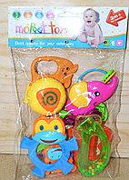 8355A погремушки 6шт в пакете животные и прорезыватель Moppet toys 29*19см